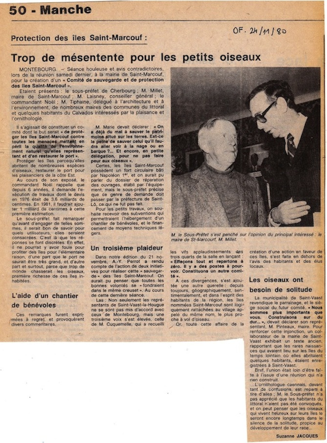 Ouest-France, publication du 24 novembre 1980.