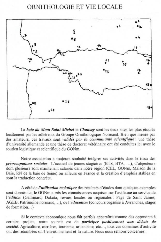 Document cartographiant les actions menées localement par le GONm