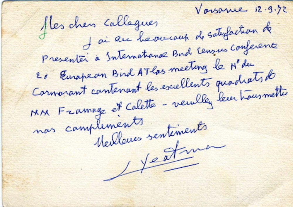 Courrier L. Yeatman/Verso.